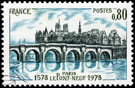 FRANCE - CIRCA 1978: A stamp printed by FRANCE shows beautiful view of The Pont Neuf (New Bridge) - the oldest standing bridge across the river Seine in Paris, France, circa 1978