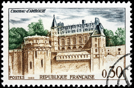 FRANCE - CIRCA 1963: A stamp printed by FRANCE shows view of The Royal Chateau at Amboise  in the Indre-et-Loire departement of the Loire Valley in France, circa 1963