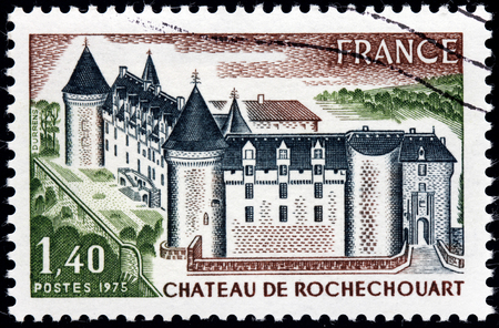 FRANCE - CIRCA 1975: A stamp printed by FRANCE shows Chateau de Rochechouart - thirteenth-century French castle, located at the top of the confluence of the Grene and Vayres rivers, circa 1975