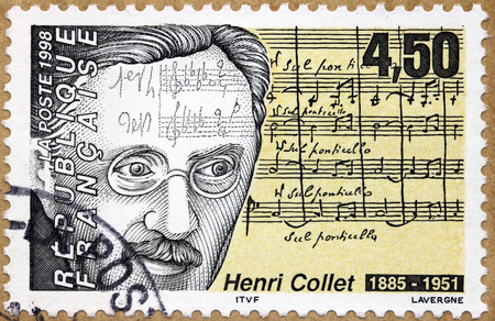 critic: FRANCE - CIRCA 1998: A stamp printed by FRANCE shows image portrait of famous French composer and music critic Henri Collet, circa 1998