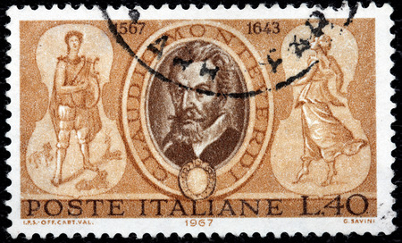 roman catholic: ITALY - CIRCA 1967: A stamp printed by ITALY shows image portrait of Italian composer, gambist, singer and Roman Catholic priest Claudio Giovanni Antonio Monteverdi, circa 1967