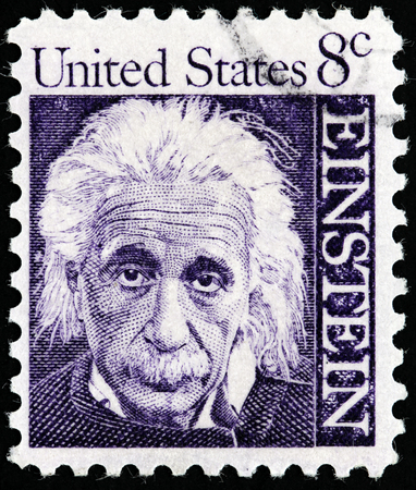 physicist: USA - CIRCA 1966: A postage stamp printed by USA shows image portrait of famous American physicist Albert Einstein, who developed the theory of general relativity, circa 1966. Editorial
