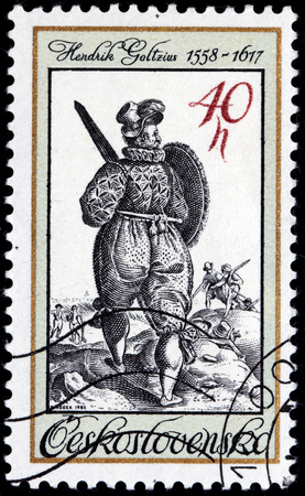 printmaker: CZECHOSLOVAKIA - CIRCA 1983: A stamp printed by Czechoslovakia shows ancient Turkish soldier with sword and shield (engraving by Dutch painter Hendrik Goltzius), circa 1983. Editorial