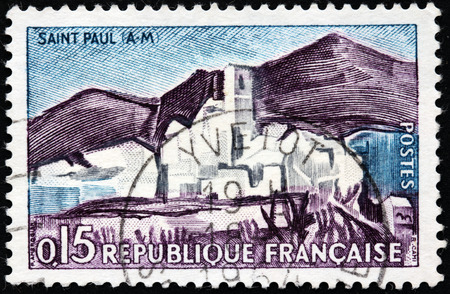 FRANCE - CIRCA 1961: A stamp printed by FRANCE shows Saint-Paul-de-Vence - famous in the world wide medieval village located in south of France, circa 1961