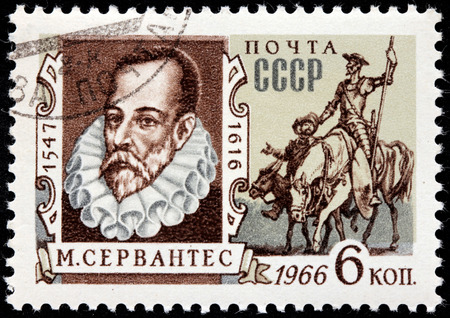 novelist: RUSSIA - CIRCA 1966: A stamp printed by USSR shows image portrait of famous Spanish novelist, poet, and playwright Miguel de Cervantes Saavedra, circa 1966