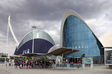 SPAIN - JUNE 25: Entrance to Oceanarium situated in the east of the city of VALENCIA, SPAIN. It is integrated inside the cultural complex known as the City of Arts and Sciences, VALENCIA, SPAIN, June 25, 2014 Editorial