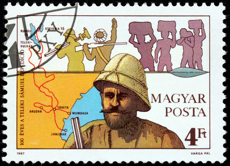 samuel: HUNGARY - CIRCA 1987: A stamp printed by HUNGARY shows image portrait of famous Hungarian explorer Count Samuel Teleki who led the first expedition to Northern Kenya, circa 1987 Editorial