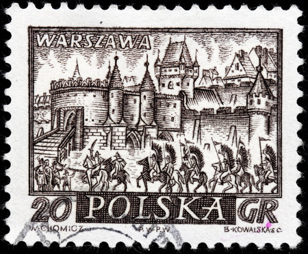 warszawa: POLAND - CIRCA 1960: A stamp printed by POLAND shows view of  Warsaw (Warszawa) - the capital and largest city of Poland, circa 1960