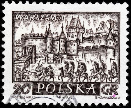 warszawa: POLAND - CIRCA 1960: A stamp printed by POLAND shows view of  Warsaw (Warszawa) - the capital and largest city of Poland, circa 1960