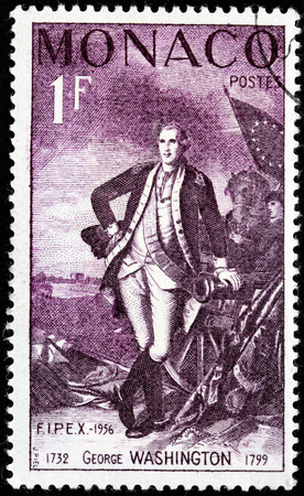 MONACO - CIRCA 1956: A stamp printed by MONACO shows image portrait of  the first President of the United States of America George Washington, circa 1956