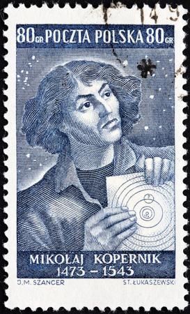 POLAND - CIRCA 1953: A stamp printed by POLAND shows portrait of Nicolaus Copernicus. Copernicus was a Renaissance mathematician and astronomer who formulated a heliocentric model, circa 1953 Editorial