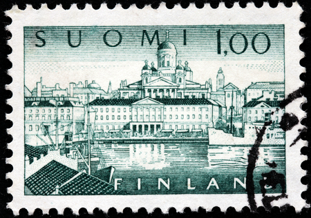 suomi: FINLAND - CIRCA 1963: A stamp printed by FINLAND shows a Southern Port in Helsinki. Helsinki is the capital and largest city in Finland, circa 1963 Editorial
