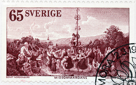 SWEDEN - CIRCA 1973: A stamp printed by SWEDEN shows Midsummer Dance (1854) - engraving after a painting of Swedish artist Bengt Nordenberg, circa 1973