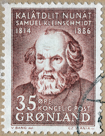linguist: GREENLAND - CIRCA 1964: A stamp printed by DENMARK shows image portrait of Samuel Petrus Kleinschmidt - German, Danish missionary linguist born in Greenland, circa 1964 Editorial