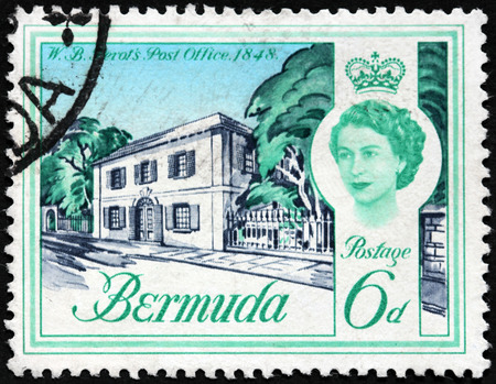 postmaster: BERMUDA - CIRCA 1962: A stamp printed by BERMUDAS ISLES shows view of Bermudas first Postmaster General William Bennet Perot Post Office (1848), circa 1962