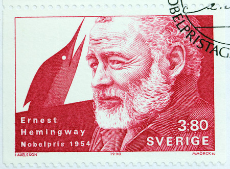 ernest: SWEDEN - CIRCA 1990: A stamp printed by SWEDEN shows image portrait of famous American author and journalist Ernest Hemingway, Nobel Laureate in Literature, circa 1990 Editorial