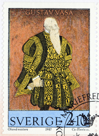 SWEDEN - CIRCA 1987: A stamp printed by SWEDEN shows image portrait of King Gustav Vasa by an unknown artist, circa 1987