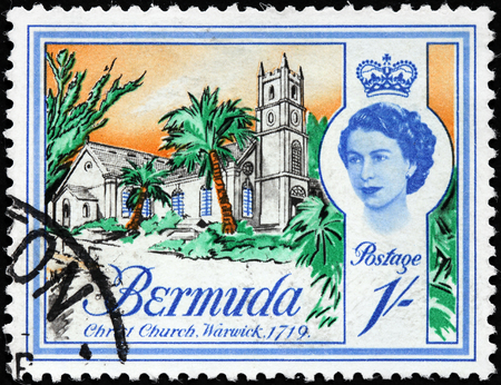 BERMUDA - CIRCA 1962: A stamp printed by BERMUDAS ISLES shows view of Christ Church, Warwick. This is one of the oldest Presbyterian churches in western hemisphere and dates back to 1719, circa 1962