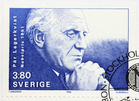 dramatist: SWEDEN - CIRCA 1990: A stamp printed by SWEDEN shows image portrait of famous Swedish novelist, poet, dramatist Par Lagerkvist who received the Nobel Prize in Literature in 1951, circa 1990 Editorial