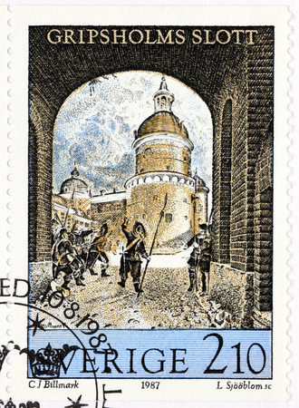 carl: SWEDEN - CIRCA 1987: A stamp printed by SWEDEN shows engraving  Cripsholm Castle after lithograph by Swedish artist Carl Johan Billmark, circa 1987