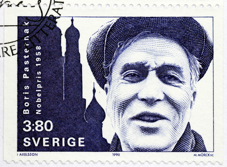 novelist: SWEDEN - CIRCA 1990: A stamp printed by SWEDEN shows image portrait of famous Russian poet, novelist, and literary translator Boris Pasternak who received the Nobel Prize in Literature in 1958, circa 1990