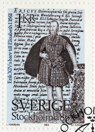 SWEDEN - CIRCA 1984: A stamp printed by SWEDEN shows image portrait of King Eric XIV (Painting by Steven van der Meulen) against his letter to Queen Elizabeth I, circa 1984