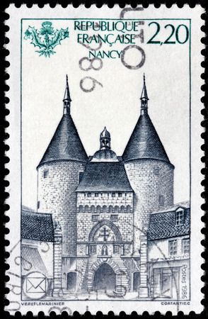 FRANCE - CIRCA 1986: A stamp printed by FRANCE shows view of the impressive Craffe Gate in Nancy, France, circa 1986