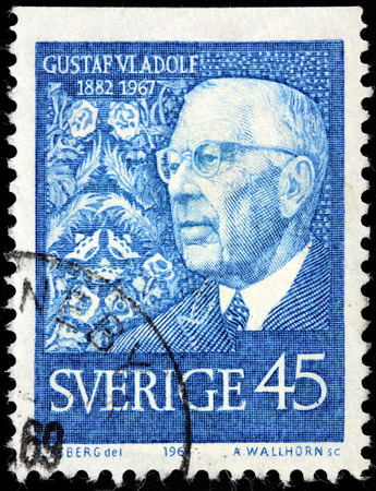 gustaf: SWEDEN - CIRCA 1967: A stamp printed by SWEDEN shows image portrait of King Gustaf VI Adolf, circa 1967.