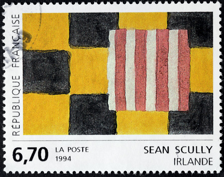 printmaker: FRANCE - CIRCA 1994: A stamp printed by FRANCE shows painting by famous Irish-born American-based painter and printmaker Sean Scully, circa 1994