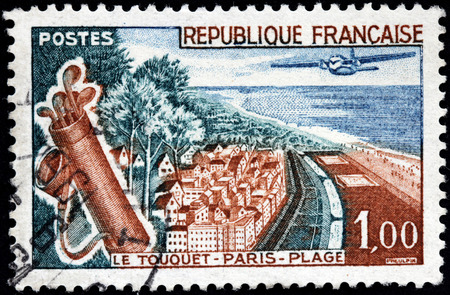 FRANCE - CIRCA 1961: A stamp printed by FRANCE shows birds eye view of Le Touquet-Paris-Plage (Le Touquet) - commune near Boulogne-sur-Mer in northern France, circa 1961