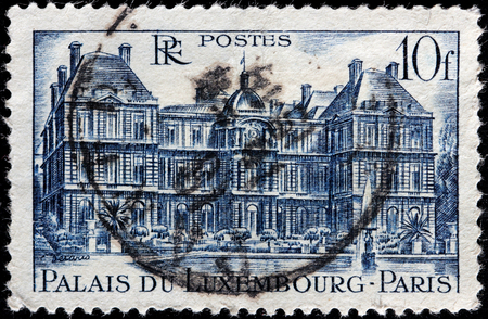 FRANCE - CIRCA 1946: a stamp printed by FRANCE shows view of The Luxembourg Palace in Paris (Palais Du Luxembourg), circa 1946.