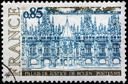 FRANCE - CIRCA 1975: A stamp printed by FRANCE shows view of The Palace of Justice (Palais de Justice) in Rouen. Rouen is the historic capital city of Normandy, circa 1975
