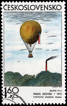graphic artist: CZECHOSLOVAKIA - CIRCA 1973: A stamp printed by CZECHOSLOVAKIA shows picture Balloon by famous Czech painter, graphic artist, and illustrator Kamil Lhotak, circa 1973 Editorial