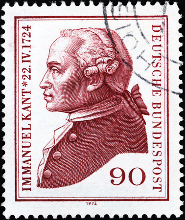 epistemology: GERMANY - CIRCA 1974: A stamp printed by GERMANY shows portrait of Immanuel Kant - German philosopher who is widely considered to be a central figure of modern philosophy, circa 1974 Editorial