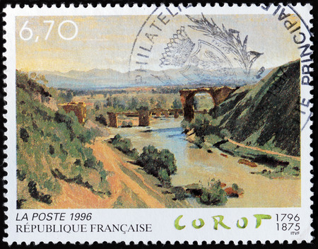 printmaker: FRANCE - CIRCA 1996: A stamp printed by FRANCE shows Painting Augustus Bridge over the Nera River by French landscape painter and printmaker in etching Jean Baptiste Camille Corot, circa 1996 Editorial