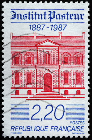 FRANCE - CIRCA 1987: A stamp printed by FRANCE shows view of The Pasteur Institute. The building hosting the Museum and the funeral chapel of Louis Pasteur, circa 1987