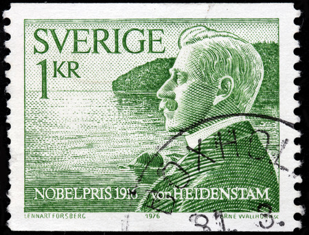 laureate: SWEDEN - CIRCA 1976: A stamp printed by SWEDEN shows image portrait of Swedish poet, novelist and laureate of the Nobel Prize in Literature in 1916 Carl Gustaf Verner von Heidenstam, circa 1976