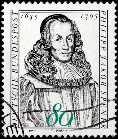 theologian: GERMANY - CIRCA 1985: A stamp printed by GERMANY shows image portrait of German Christian theologian Philipp Jakob Spener known as the Father of Pietism, circa 1985. Editorial