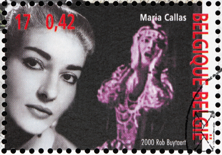 callas: BELGIUM - CIRCA 2000: A stamp printed by BELGIUM shows image portrait of famous American born Greek soprano and one of the most renowned and influential opera singers Maria Callas, circa 2000.