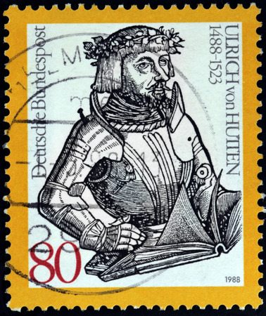 humanist: GERMANY - CIRCA 1988: A stamp printed by GERMANY shows image portrait of German scholar, poet and reformer Ulrich von Hutten, circa 1988. Editorial