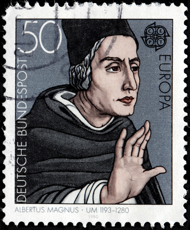friar: GERMANY - CIRCA 1980: A stamp printed by GERMANY shows Dominican friar,  Catholic bishop, Catholic saint Albertus Magnus also known as Albert the Great and Albert of Cologne, circa 1980. Editorial