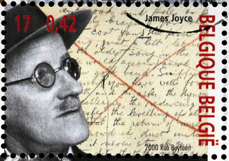 dramatist: BELGIUM - CIRCA 2000: A stamp printed by BELGIUM shows image portrait of famous Irish novelist and poet  James Augustine Aloysius Joyce, circa 2000.