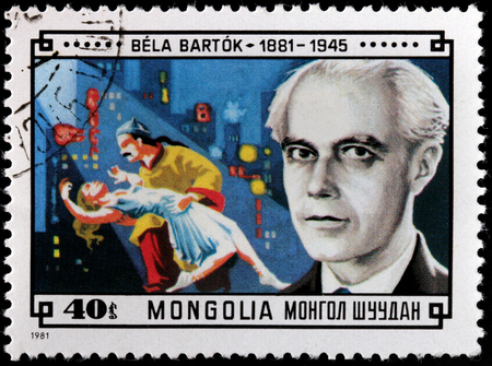 MONGOLIA - CIRCA 1981: A stamp printed by MONGOLIA shows image portrait of famous Hungarian composer and pianist Bela Viktor Janos Bartok, circa 1981.