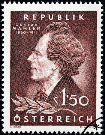 AUSTRIA - CIRCA 1960: A stamp printed by AUSTRIA shows image portrait of  famous Bohemian Romantic composer and conductor Gustav Mahler, circa 1960.
