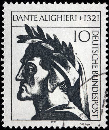 humanist: GERMANY - CIRCA 1971: A stamp printed by GERMANY shows image portrait of a major Italian poet of the Middle Ages Dante Alighieri, circa 1971 Editorial