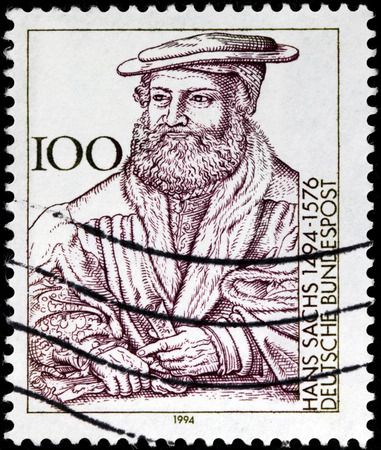 dramatist: GERMANY - CIRCA 1994: A stamp printed by GERMANY shows image portrait of famous German meistersinger (mastersinger), poet, playwright, and shoemaker Hans Sachs, circa 1994. Editorial