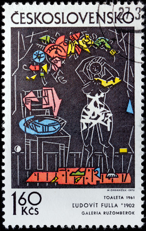 graphic artist: CZECHOSLOVAKIA - CIRCA 1972: A stamp printed by CZECHOSLOVAKIA shows picture Dressing by Slovak painter, graphic artist, illustrator, designer and art teacher Ludovit Fulla, circa 1972