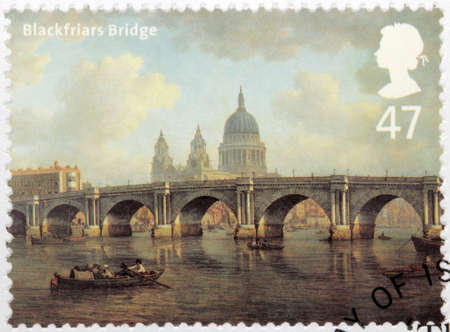 blackfriars bridge: UNITED KINGDOM - CIRCA 2002: A stamp printed by GREAT BRITAIN shows painting Blackfriars Bridge and St Pauls Cathedral by William Marlow (City of London to Southwark), circa 2002