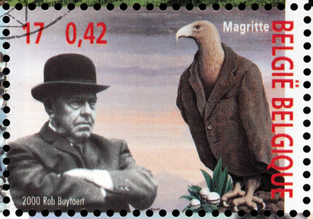 surrealist: BELGIUM - CIRCA 2000: a stamp printed by BELGIUM shows image portrait of famous Belgian surrealist artist Rene Francois Ghislain Magritte, circa 2000. Editorial