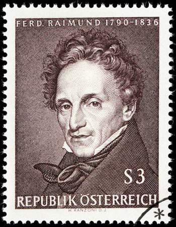 dramatist: AUSTRIA - CIRCA 1965: A stamp printed by AUSTRIA shows image portrait of famous Austrian actor and dramatist Ferdinand Raimund, circa 1965. Editorial
